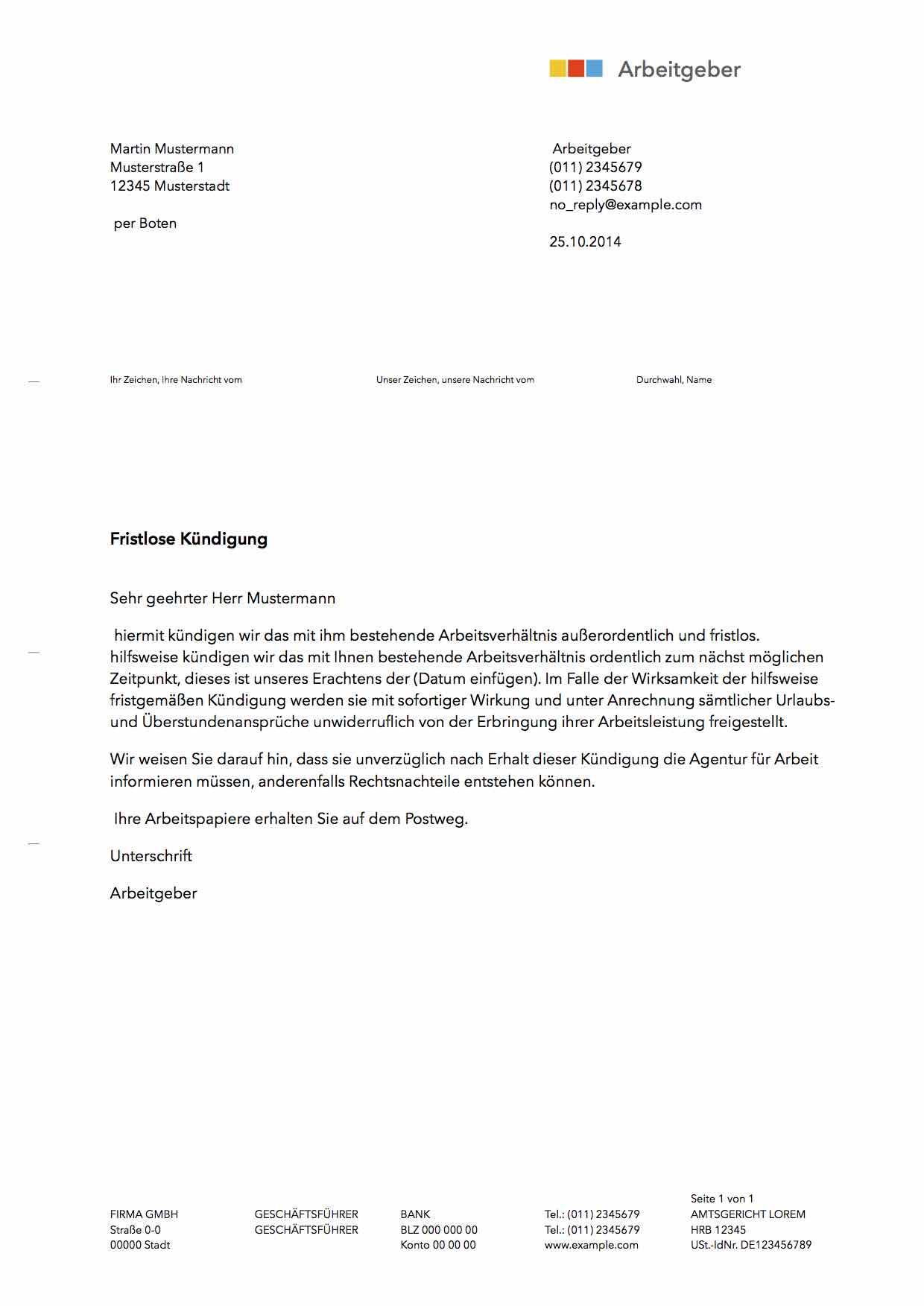 Fristlose Kuendigung Schrader Mansouri Rechtsanwälte Mbb